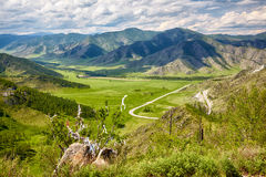 Holy stone on Altai mountain pass Chike-Taman in Russia Stock Photo