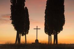 Holy sunrise in Tuscany Royalty Free Stock Image