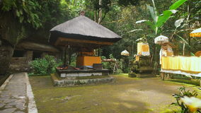 Holy temple in the forest on Bali island. Stone chancel inside tropical garden with traditional features of indonesian stock video footage