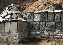 Holy text on stones. Nepali people write holy text on stones. Nepal,  2008 Stock Image