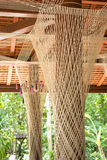 Holy thread around pole in temple. Of thailand Royalty Free Stock Image