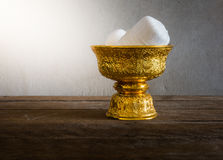 Holy thread in Thailand Gold tray with pedestal Royalty Free Stock Photo