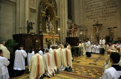 Holy Thursday, Mass Lord`s Supper in Zagreb Cathedral Stock Photos