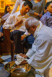 Holy Thursday in the Stella Maris Carmelite Monastery, Haifa. HAIFA, ISRAEL - APRIL 13, 2017: Washing of the feet ceremony, on Holy Thursday, part of Easter Royalty Free Stock Images