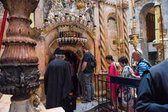 Holy Tomb, Church of Holy Sepulchre. JERUSALEM, ISRAEL - MAY 15, 2018: Pilgrims waiting to enter in the Rotunda, Jesus`s Holy Tomb, in the Church of Holy royalty free stock photography