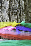Holy tree with multi-color fabric Royalty Free Stock Image