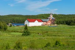 Holy Trinity Anzersky monastery of the Solovki monastery. On an island Anzer Russia, Arkhangelsk region, Solovki stock photo