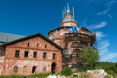 Old monastery - former prison. Holy Trinity Anzersky monastery of the Solovki monastery on an island Anzer Russia, Arkhangelsk region, Solovki royalty free stock image