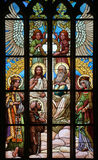 Holy Trinity. Art Nouveau stained glass window. Holy Trinity. Art Nouveau stained glass window in Saint Barbara Church in Kutna Hora, Czech Republic royalty free stock photography