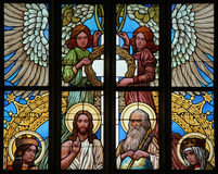 Holy Trinity. Art Nouveau stained glass window. Royalty Free Stock Image