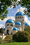 Holy Trinity Cathedral in Orekhovo-Borisovo framed by trees Royalty Free Stock Images