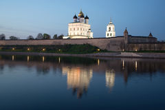 Holy Trinity Cathedral and the Pskov Kremlin. Russia Royalty Free Stock Photos