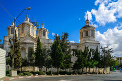 The Holy Trinity Cathedral, in the Russian Compound, Jerusalem. JERUSALEM, ISRAEL - SEPTEMBER 23, 2016: The Holy Trinity Cathedral, in the Russian Compound, with Stock Photo