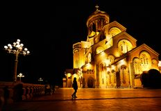Holy Trinity Cathedral of Tbilisi at night Stock Photography