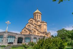 Holy Trinity Cathedral of Tbilisi Sameba - the main cathedral of the Georgian Orthodox Church located in Tbilisi, the capital of. Georgia, religious royalty free stock photography