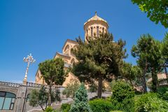 Holy Trinity Cathedral of Tbilisi Sameba - the main cathedral of the Georgian Orthodox Church located in Tbilisi, the capital of. Georgia, religious royalty free stock photo