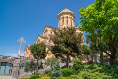 Holy Trinity Cathedral of Tbilisi Sameba - the main cathedral of the Georgian Orthodox Church located in Tbilisi, the capital of. Georgia, religious royalty free stock images