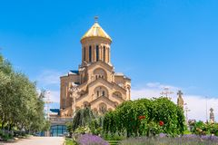 Holy Trinity Cathedral of Tbilisi Sameba - the main cathedral of the Georgian Orthodox Church located in Tbilisi, the capital of. Georgia, religious royalty free stock image