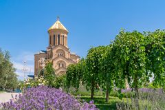 Holy Trinity Cathedral of Tbilisi Sameba - the main cathedral of the Georgian Orthodox Church located in Tbilisi, the capital of. Georgia, religious stock image