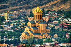 Holy Trinity Cathedral Tsminda Sameba church in Tbilis Stock Photo