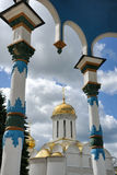 Holy Trinity Cathedral from under Canopy in Sergiev Posad Stock Photography