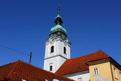 Holy Trinity church bell tower. Bell tower of Holy Trinity church and monastery in Karlovac, Croatia Royalty Free Stock Photography