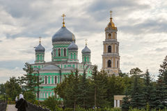 Holy Trinity Church and Bell Tower of Troitsky Serafimo-Diveyevs. Ky Convent under clouds‎, Diveyevo, Russia Stock Photo