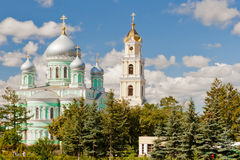 Holy Trinity Church and Bell Tower of Troitsky Serafimo-Diveyevs. Ky Convent under clouds‎, Diveyevo, Russia Stock Photography