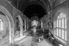 Holy Trinity Church Nave BW. England, Bradford-on-Avon - July 24, 2017: Holy Trinity Church Nave BW, dates from the 12th century, medieval church in Bradford-on Royalty Free Stock Photography