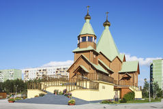 Holy Trinity Church. Russia. City Of Polyarnye Zori Stock Photo
