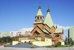 Holy Trinity Church. Russia. City Of Polyarnye Zori Stock Photo