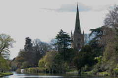 Holy Trinity Church, Stratford-upon-Avon. A view along the River Avon of Holy Trinity Church, where the body of Sir William Shakespeare is buried Royalty Free Stock Photo