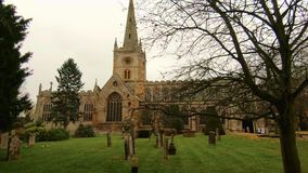 Holy Trinity Church Stratford Upon Avon, Warwickshire, United Kingdom. Resting Place Of William Shakespeare And Old English Church stock video footage