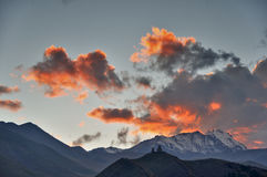 Holy Trinity Church Sunset, Kazbegi, Georgia Royalty Free Stock Image