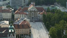 Holy Trinity Column in front of Ursuline Church, travel to Ljubljana, Slovenia. Stock footage stock footage