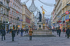 Holy Trinity Column and Graben street in the Old city of Vienna Stock Photography