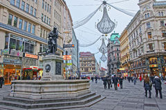 Holy Trinity Column and Graben street of Vienna in Austria Royalty Free Stock Photos