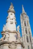 Holy Trinity column near Matthias Church in Budapest stock image