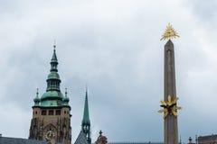 Holy Trinity Column Plague Column at Lesser Town Square. Prague, Czech Republic. Holy Trinity Column was designed by Giovanni Ba Stock Photos