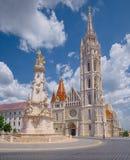 Holy Trinity Column and St. Mattias Church in Budapest, Hungary stock photo