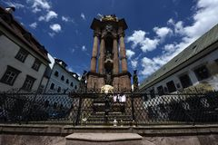 Holy Trinity Column - Trojan Pillar, Banska Stiavnica, Slovakia, UNESCO Stock Photos