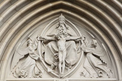 The Holy Trinity. Gothic relief in Saint Wenceslas Cathedral in Stock Images