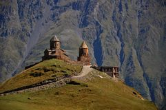 Holy Trinity Monastery Tsminda Sameba, Kazbegi Royalty Free Stock Images