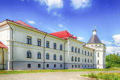 Holy Trinity Monastery Varnickiy Rostov Russia. Missionary building orthodox gymnasium board Stock Photo