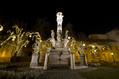 Holy Trinity sculpture on the Szentlelek square at christmas time in Obuda in Budapest Stock Photography