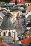 Holy Trinity square with the Holy Trinity statue. Holy Trinity square is the main square of Banska Stiavnica Stock Photography