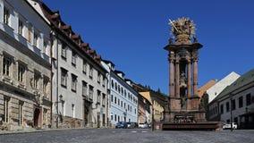 Holy Trinity square, Banska Stiavnica, Slovakia stock images