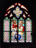 Holy Trinity stained glass windows in church. Slovakia Royalty Free Stock Photography