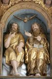 Holy Trinity. Statue on the main altar in Church of Birth of Virgin Mary in Svetice, Croatia royalty free stock photos
