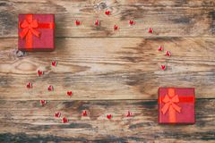 Holy valentines day composition, two red gift box, small heart Royalty Free Stock Images